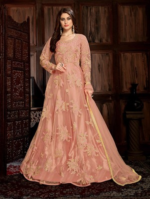 Peach Heavy Net with Satin Designer Anarkali Suit