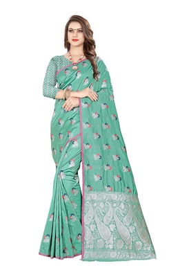 Sea green woven banarasi silk saree with blouse