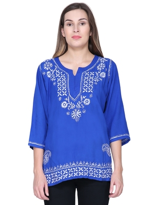 Blue embroidered rayon long-tops