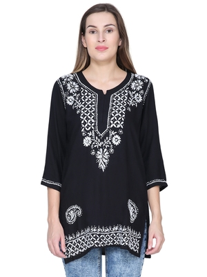 Black embroidered rayon long-tops