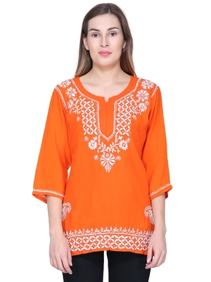 Orange embroidered rayon long-tops