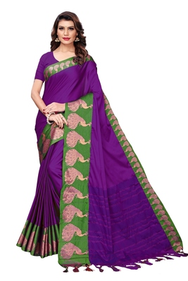 Violet woven cotton silk saree with blouse