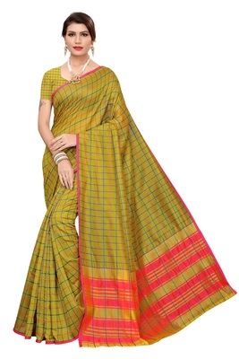 Mehendi woven cotton silk saree with blouse