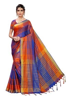 Orange woven cotton silk saree with blouse