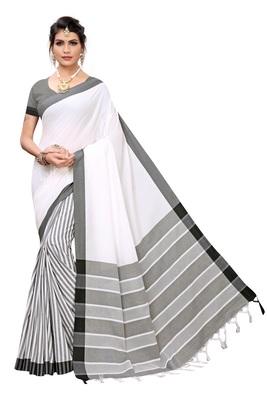 White woven cotton silk saree with blouse