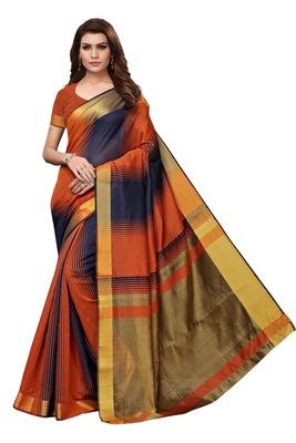 Multicolor woven cotton silk saree with blouse