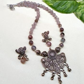 Grey agate necklaces
