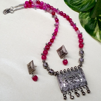 Pink agate necklaces