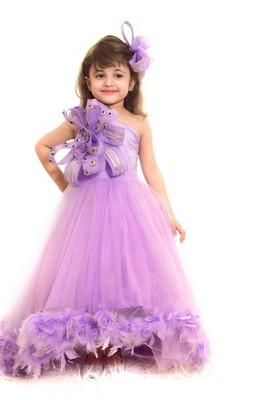 Purple plain net kids-girl-gowns