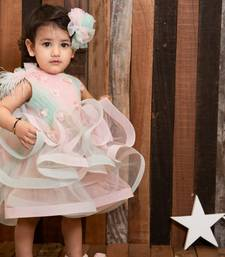 Pink plain net kids-frocks
