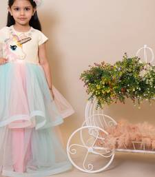 Pink plain dupion silk kids-girl-gowns