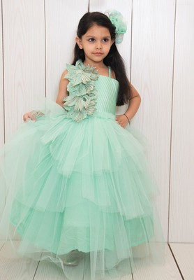 Green plain net kids-girl-gowns