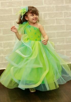 Green plain dupion silk kids-girl-gowns
