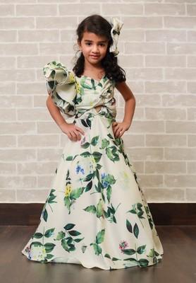 White printed dupion silk kids-girl-gowns