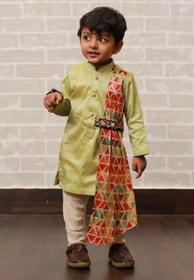 Green plain cotton silk boys-kurta-pyjama