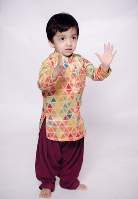 Multicolor printed cotton silk boys-kurta-patiala