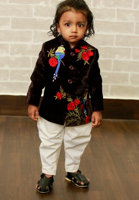 Blue embroidered velvet boys-indo-western-dress