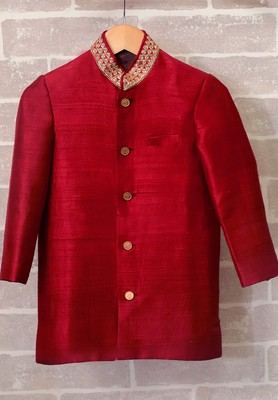 Red plain raw silk boys-indo-western-dress
