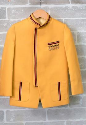 Yellow plain art silk boys-blazer