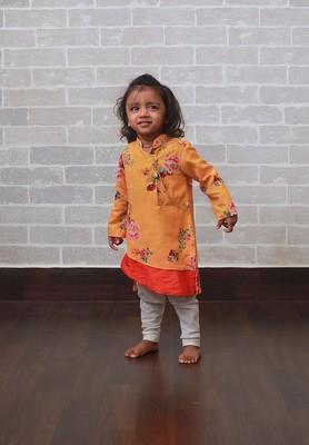 Yellow printed art silk boys-kurta-pyjama