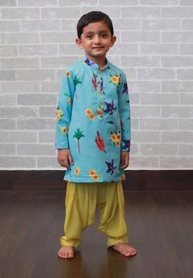 Blue printed art silk boys-kurta-patiala