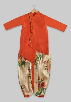 Orange plain cotton silk boys-dhoti-kurta