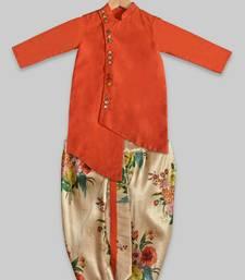 Orange plain cotton silk boys-dhoti-kurta