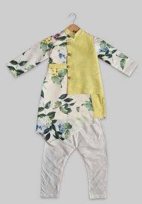 Green printed dupion silk boys-kurta-pyjama