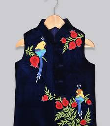 Blue embroidered velvet boys-nehru-jacket