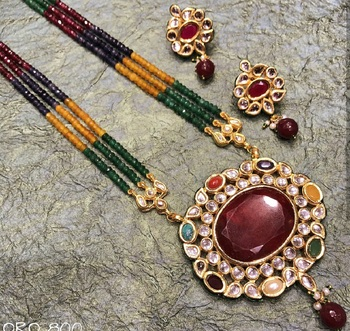 Multi-color Semi Precious Beads  kundan necklace-sets
