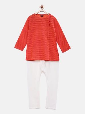 Red plain polyester boys-kurta-pyjama