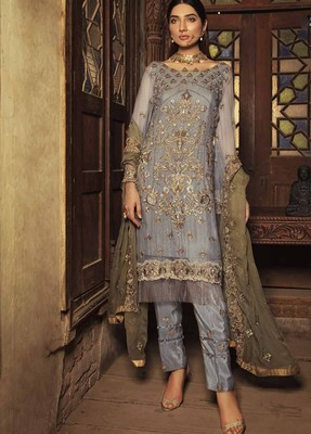 Grey embroidered chiffon salwar