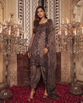 Brown embroidered chiffon salwar