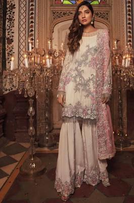 Cream embroidered chiffon salwar