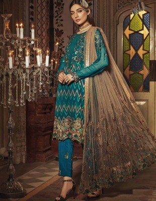 Blue embroidered chiffon salwar