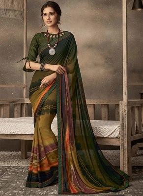 dark green printed chiffon saree with blouse