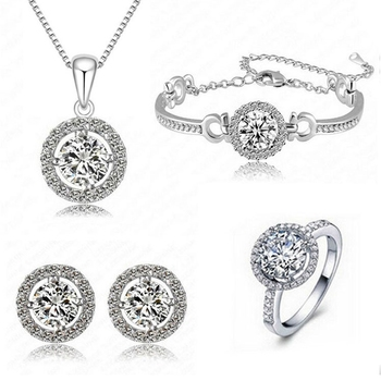 Silver crystal jewellery-combo