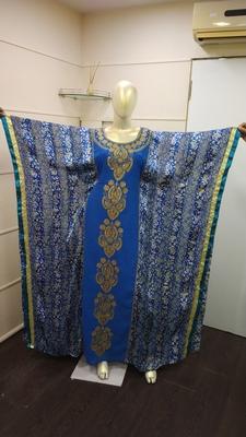 Blue Zari Work Chiffon Polyester Islamic Party Wear Festive Kaftan Farasha