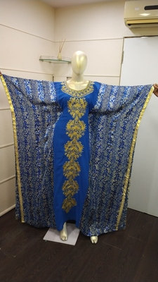 Blue Zari Work Chiffon Polyester Islamic Party Wear Festive Kaftan Farasha