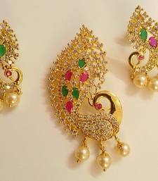 Buy Multi Color Peacock Pendant Set pendant online