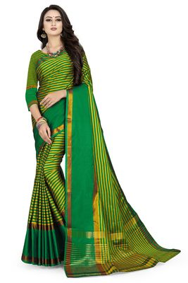 Green printed polycotton saree with blouse