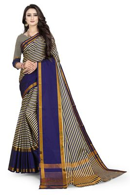 Cream printed polycotton saree with blouse