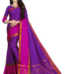 Violet printed polycotton saree with blouse
