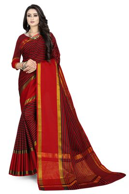 Red printed polycotton saree with blouse