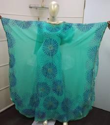 Turquoise Blue Zari Work Chiffon Polyester Islamic Party Wear Festive Kaftan Farasha