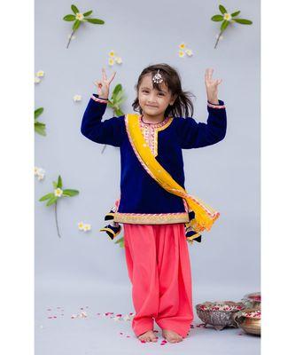 Blue Velvet Kurti with Salwar