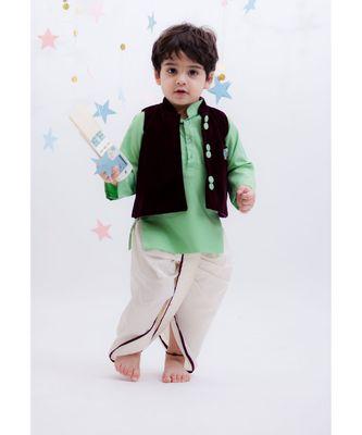Burgandi Velvet Nehru Jacket Set