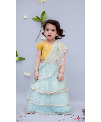 Light Blue Shiffon Saree with Yellow Top