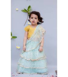 Light Blue Shiffon Saree with Yellow Top