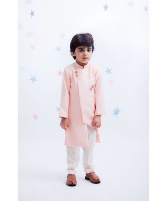 Peach Linen Ajkan with Pant